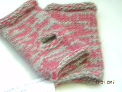 Photo of Pink and Gray  Fingerless Mittens