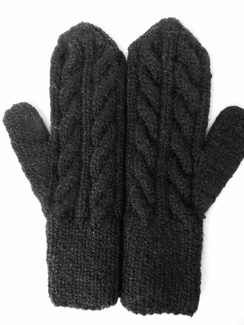 Photo of Alpaca Mittens Black Cable Knitted