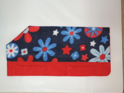 Photo of Navy Blue Floral on Red - Small