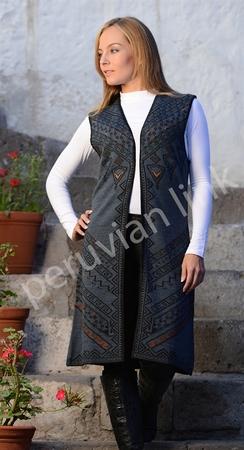 Photo of Reversible Knitted Alpaca Vest (Denim)