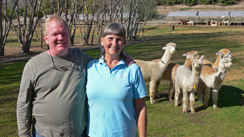 Doug and Cindy with some of their Huacaya and Suri