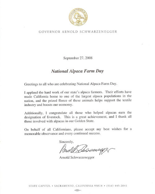 Governor Arnold Schwarzenegger's 2008 Letter for National Alpaca Farm Day