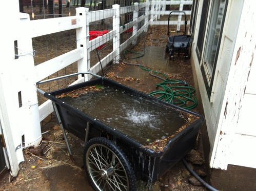 45 minutes of rain off shed roof