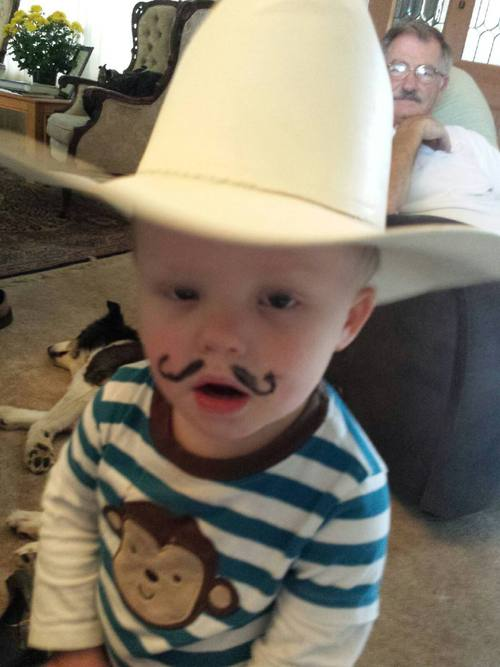 Wo..I am growing so fast that I just grew a mustache just like Papa Dean's...he he