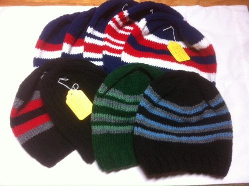 some of the knitted hats for soldiers