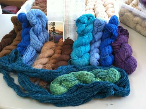 Hand Dyed and Natural colors for a weaving project