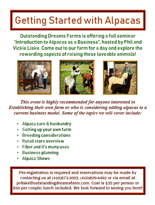 Fall Alpaca Business seminar takes place Saturday, October 6th at Outstanding Dreams Farm.