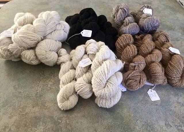 Finished yarn produced by Elderwood's very own alpacas.