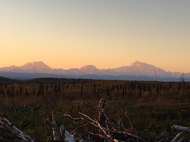 Sunset on the Alaska Range from the top bench of our Ranch