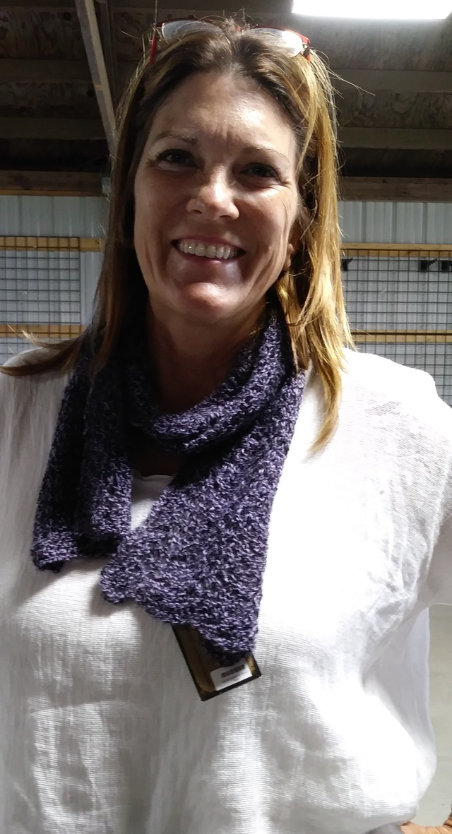 Wendy Achatz modeling The FORT'S Hand Knit Scarf