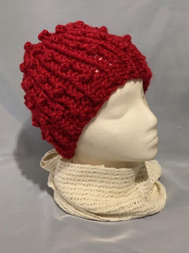 Knitted alpaca popcorn hat