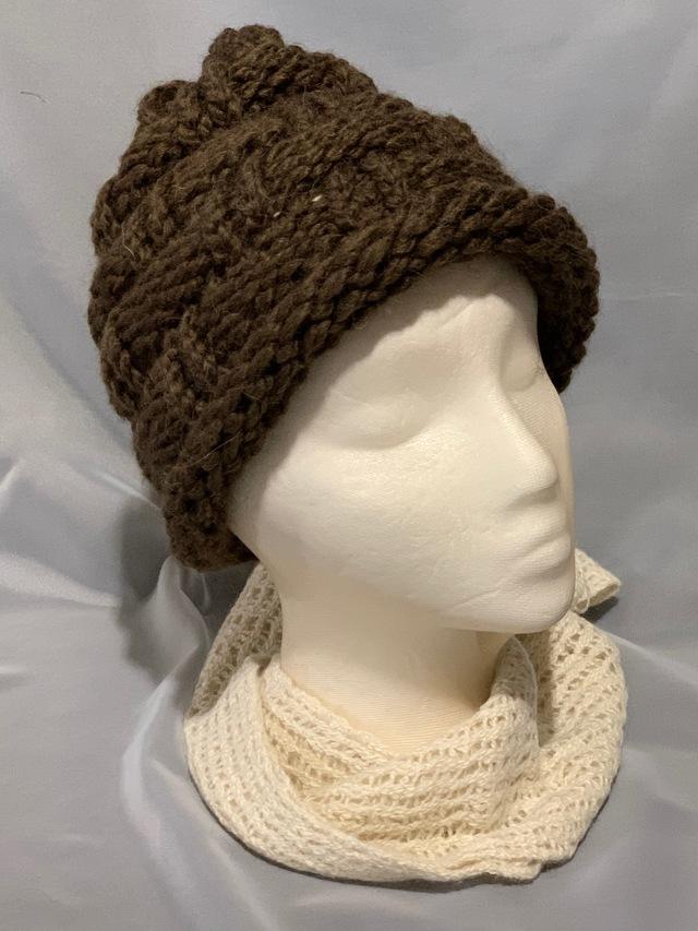 Knitted alpaca basket weave hat
