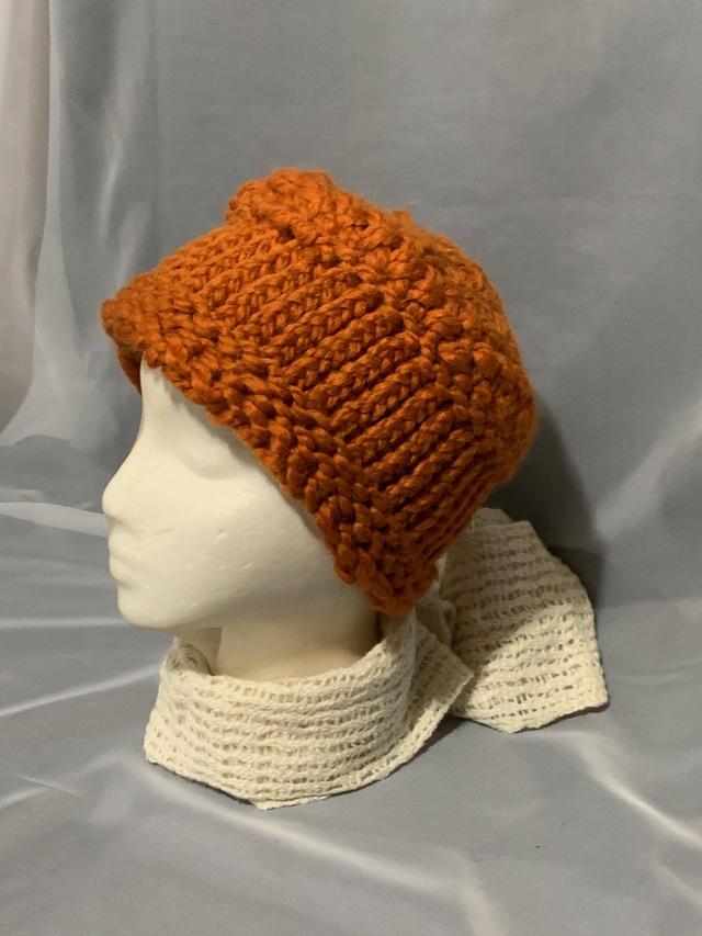 Knitted alpaca pillbox hat