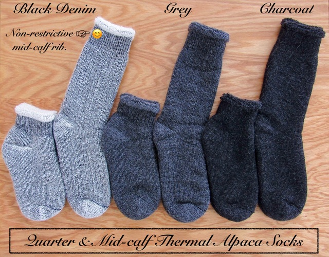Quarter & Mid-calf Thermal ALPACA socks. ~ LUXURIOUS WARMTH! ~