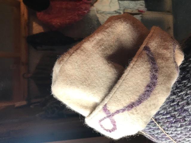 Alpaca needle felted over linen