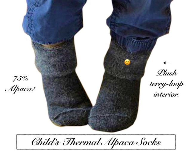 Warm & comfy/cozy Alpaca Thermal socks for children. Of the same design & quality as the adult Alpaca Thermal socks.
