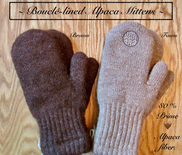 Bouclé-lined Alpaca mittens are incredibly WARM!