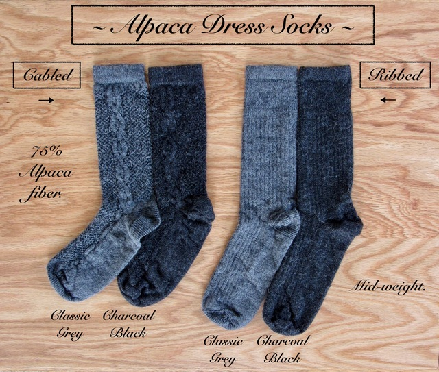 Cabled or Ribbed ALPACA dress socks.  Luxury & comfort beautifully blended.