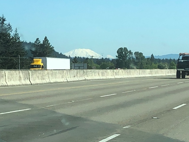 Mount St Helens (see how the top isn't pointed anymore since it blew off?)