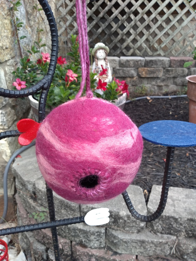 Felted bird house - Purple Swirl
