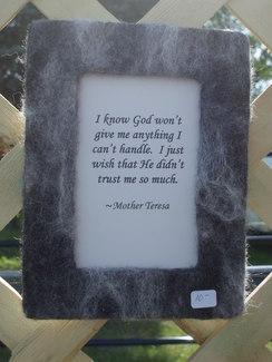 Photo of felted frame - Mother Teresa