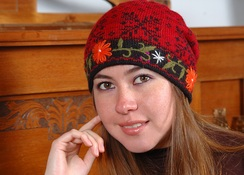 Alpaca Embroidered Leaf Hat