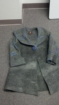 Grey jacket with large collar