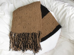 Photo of Black/fawn Alpaca scarf/fringes-SOLD
