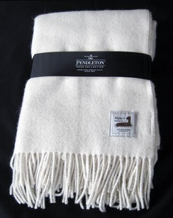White Pendleton Throw Blanket