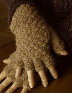 100% Alpaca Textured Fingerless Gloves