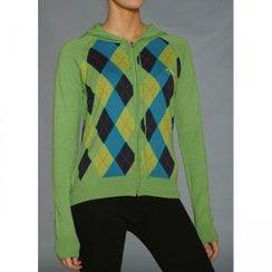 Alpaca Argyle Hoodie Zip Sweater
