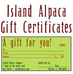 Island Alpaca Gift Certificates