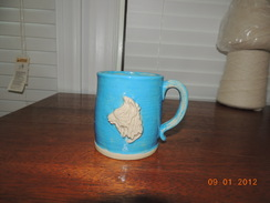 Photo of Stoneware Alpaca Mug Blue and White