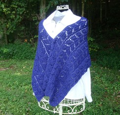 Blue Alpaca Knit Wrap