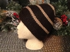 Photo of Brown and Fawn Striped Hat