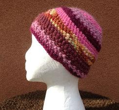 Lollypop Line Hat: Mustard/Maroon