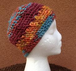 Lollypop Line Hat: Orange/Maroon/Turq