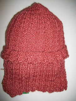 Hand Knit Coral Hat and Scarf Set
