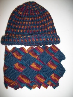 Hand Knit Multi-Color Hat and Scarf Set