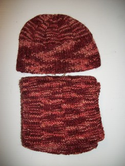 Hand Knit Pink Hat and Scarf Set