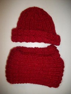 Hand Knit Children's Red Set