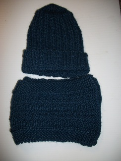Hand Knit Blue Hat and Scarf Set