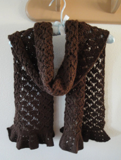 Scarf/Wrap Brown Baby Alpaca Hand Knit