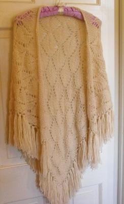 Beige Hand Knit SHAWL with Fringe