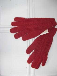 Red Knit Alpaca Gloves
