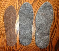 Boot Inserts made from alpaca fleece