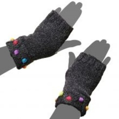 Photo of Fingerless Dot Knit Alpaca Gloves