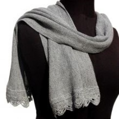 Photo of Crocheted Edge Baby Alpaca Scarf - Grey
