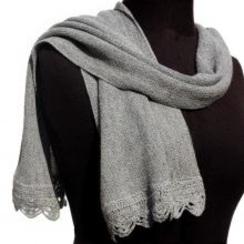 Crocheted Edge Baby Alpaca Scarf - Grey