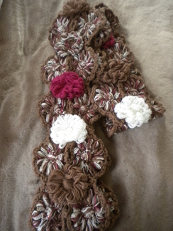 Hand Made Alpaca Flower Scarf